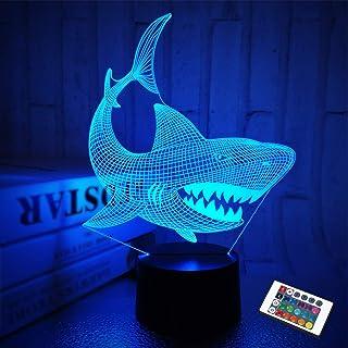 Shark 3D Illusion Nachtlicht Animal Touch Tisch Schreibtischlampe, mit Fernbedienung 16 Farben Optisches USB LED Nachtlich...