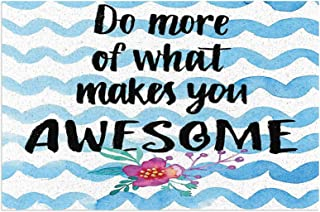 Hat&C Quote Decor Motivational Do More of What Makes You Awesome Lifestyle Phrase On Waves Art Black Blue Mats Non Slip Ru...