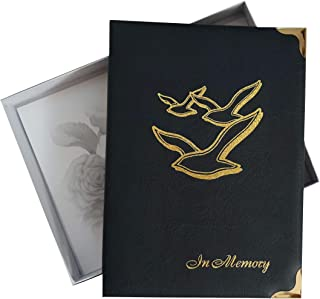 "At-Ease Specialties Funeral Guest Book, Celebration of Life and Memorial Gift, Blue, ""Going Home"" 7.25x10 Inches, Brass Ring Binder (45) Removable Pages"