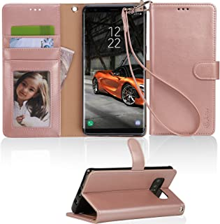 Samsung Galaxy Note 8 case, Arae [Wrist Strap] Flip Folio [Kickstand Feature] PU Leather Wallet case with ID&Credit Card Pockets for Galaxy Note 8 - Rose Gold