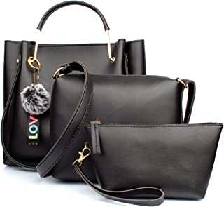 Mammon Women's Stylish Handbags Combo (3LR-bib-blk)