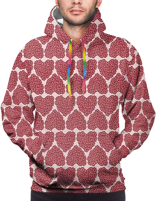 TENJONE Men's Hoodies Sweatshirts,Flower Field Pattern with Greyscale Background Remembrance Day Theme Nostalgic