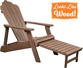 PolyTEAK Deluxe Oversized Reclining Poly Adirondack Chair with Pullout Ottoman, Walnut Brown | Adult-Size, Weather Resistant, Made from Special Formulated Poly Lumber Plastic