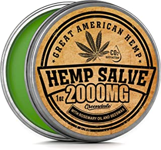 Hemp Oil Salve for Pain Relief - 2000 Mg - Fast Acting & Natural - Knee, Muscle, Joint, Neck & Back Pain Relief - Premium Hemp Oil Made in USA - Anti Inflаmmаtory Hemp Balm - MAX Efficacy - No GMO