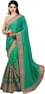 Nivah Fashion Women's Silk n Net Embroidery Work Saree (Green)