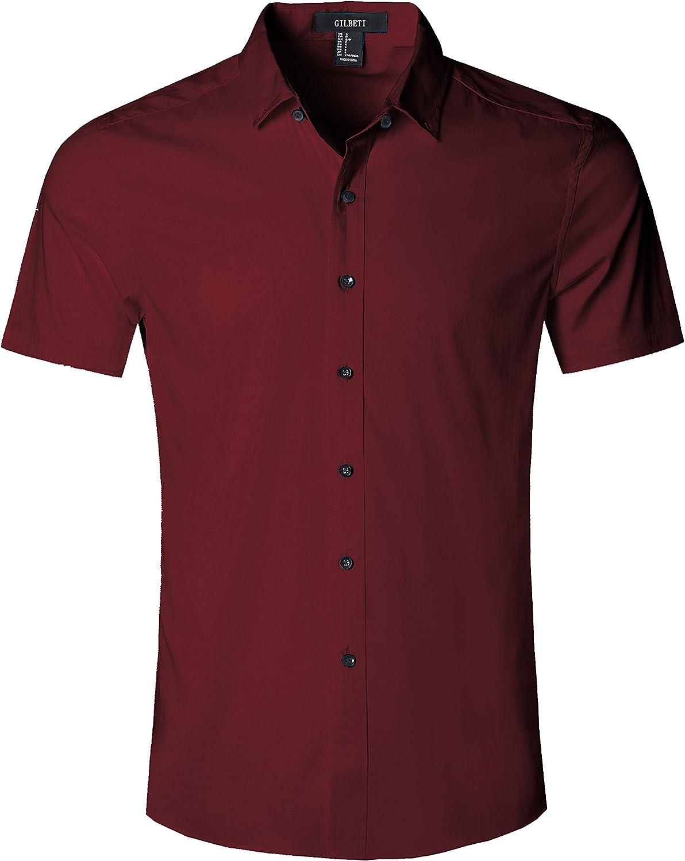 GILBETI Men's Slim Fit Solid Dress Shirts Button Down Cotton Short Sleeve Shirt