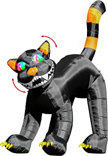 Halloween Haunters Huge 11 Foot Inflatable Scary Black Cat Yard Prop Decoration Animated Rotating Turning Shaking Head Flashing Multi-Color LED Eyes - Indoor Outdoor Lawn Blow Up Haunted House Party