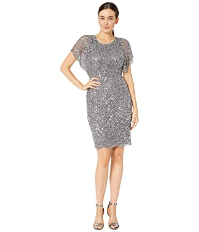 Adrianna Papell Flutter Sleeve Beaded Cocktail Dress with Pearl Edge Detail (Moonscape) Women