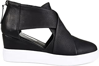 Brinley Co. Womens SEB Athleisure D'Orsay Criss-Cross Sneaker Wedges