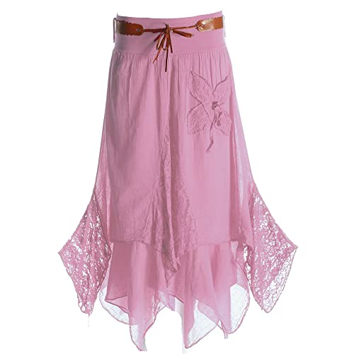36253d24bce0f2 Candy Clothing Made Ladies Hi Waisted Cotton Skirt Festival Belted Boho  Gypsy Tiered Asymmetric Hitched Hem