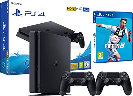 PS4 Slim 500Gb Negra Playstation 4 Consola + 2 Mandos Dualshock 4 + FIFA 19