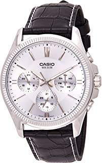 Watch for Men by Casio, Analog, Chronograph, Leather, Black, MTP-1375L-7AV