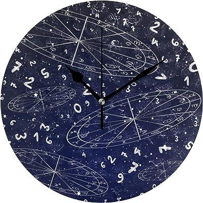 VAWA 掛け時計 置き時計 おしゃれ 北欧 時計 壁掛け 連続秒針 リビング 部屋装飾 贈り物 星空柄 星柄 星座柄 星宿 数字柄