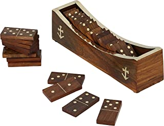 Wooden Domino Game, Open Boat Tray and Pieces, Handmade Board Game for Adults by ShalinIndia
