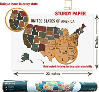 Oversized USA Scratch Off Map - 50 States Travel Tracker - Earth Tones Design with Unique State Icons- US Where Have I Been Maps - Great for Vacations, Camping, RV and Van Trips (23