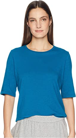 Slubby Organic Cotton Jersey Round Neck Elbow Sleeve Top