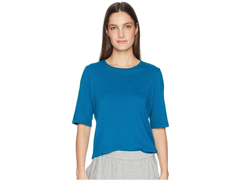 Eileen Fisher Slubby Organic Cotton Jersey Round Neck Elbow Sleeve Top (Jewel) Women