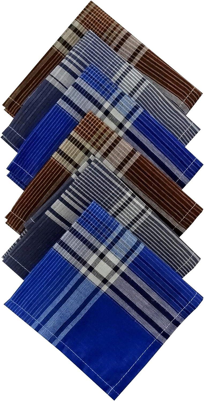 S4S 6 or 12 Pack Men's Handkerchief, 100% Soft Cotton Hankies Light Dark Color Checks Pattern