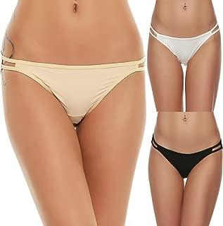 Bikini Panty Womens Seam Free String Microfiber Briefs 3 Pack Assorted Colors
