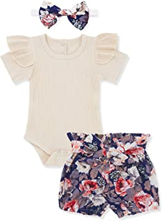 Newborn Baby Girl Clothes Flare Sleeve Romper + Floral Short Pants+Headband 3pcs Summer Outfit