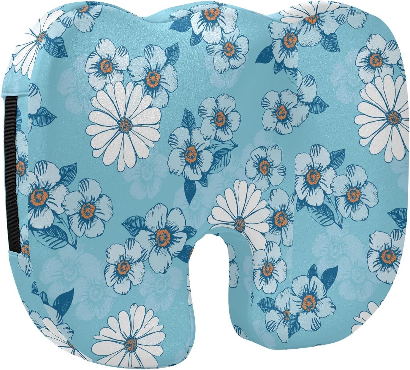 NEW Max 79% OFF Blue Little White Flower Designed Stretch Memory Printed Foam Se