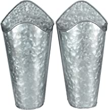 Kingbuy Galvanized Metal Wall Planter, Farmhouse Style Hanging Wall Vase Planters (2) for Succulents or Herbs,Tin Style Bucket for Country Rustic Home Wall Decor.