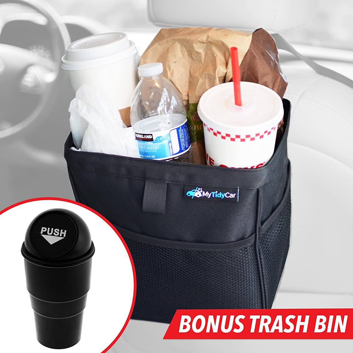 MyTidyCar Hanging Car Trash Can & Cooler - Premium, 3 Pockets, Leakproof, Hanging Car Garbage Bag for Vehicles (Bundle)