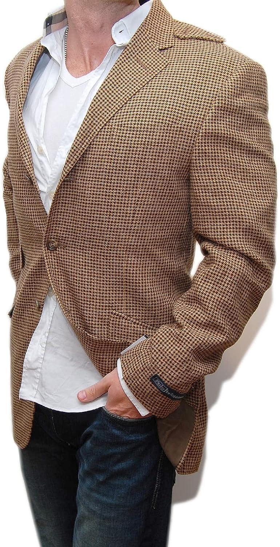 Ralph Lauren Polo Mens Sportcoat Blazer Brown Houndstooth Virgin Wool Italy 40R $1,248