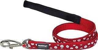 Red Dingo Designer hundbricka, vita punkter på rött, 20 mm x 1,2 m, storlek M