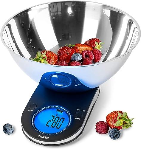 Duronic KS5000 Balance de cuisine | Capacité de 5 kg | Bol inclus | Large écran rétroéclairé | Fonction d'ajout de po...