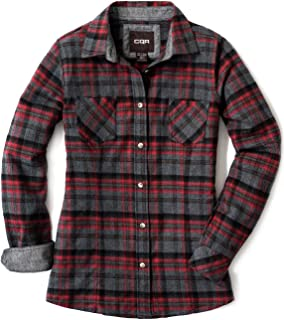 CQR by Tesla Women's Flannel Long Sleeved Button-Up Plaid 100% Cotton Brushed Shirt WOF002