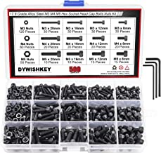DYWISHKEY 500 Pieces M3 M4 M5, 12.9 Grade Alloy Steel Hex Socket Head Cap Bolts Nuts Assortment Kit with Hex Wrenches