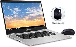 "ASUS Chromebook C523 Laptop- 15.6"" Full HD NanoEdge Touchscreen, Intel Quad Core Pentium N4200 Processor, 4GB RAM, 64GB eMMC Storage, Optical Mouse Included, USB Type-C, Chrome OS, C523NA-IH24T Silver"