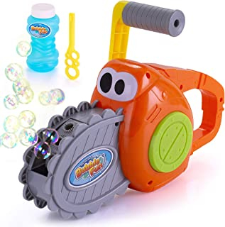BRITENWAY Kids Outdoor Bubble Gun for Kids and Toddlers, Chainsaw Bubble Blower Machine, 500 Bubbles per Minute.