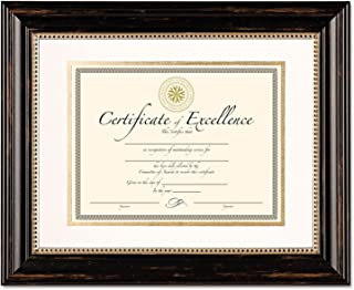 Dax Genova Document Frame with Mat, Plastic, Black, 11 x 14 Inches (N4100S3T)