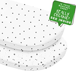 MakeMake Organics Organic Cotton Bassinet Sheet (Set of 2) GOTS Certified Organic Bassinet Mattress Pad Cover Ultra Soft Breathable Fits Hourglass Rectangle Oval (15