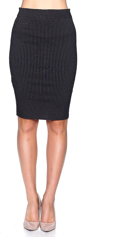 Rokoko Women's High Waist Dress Up Striped Office Midi Skirt