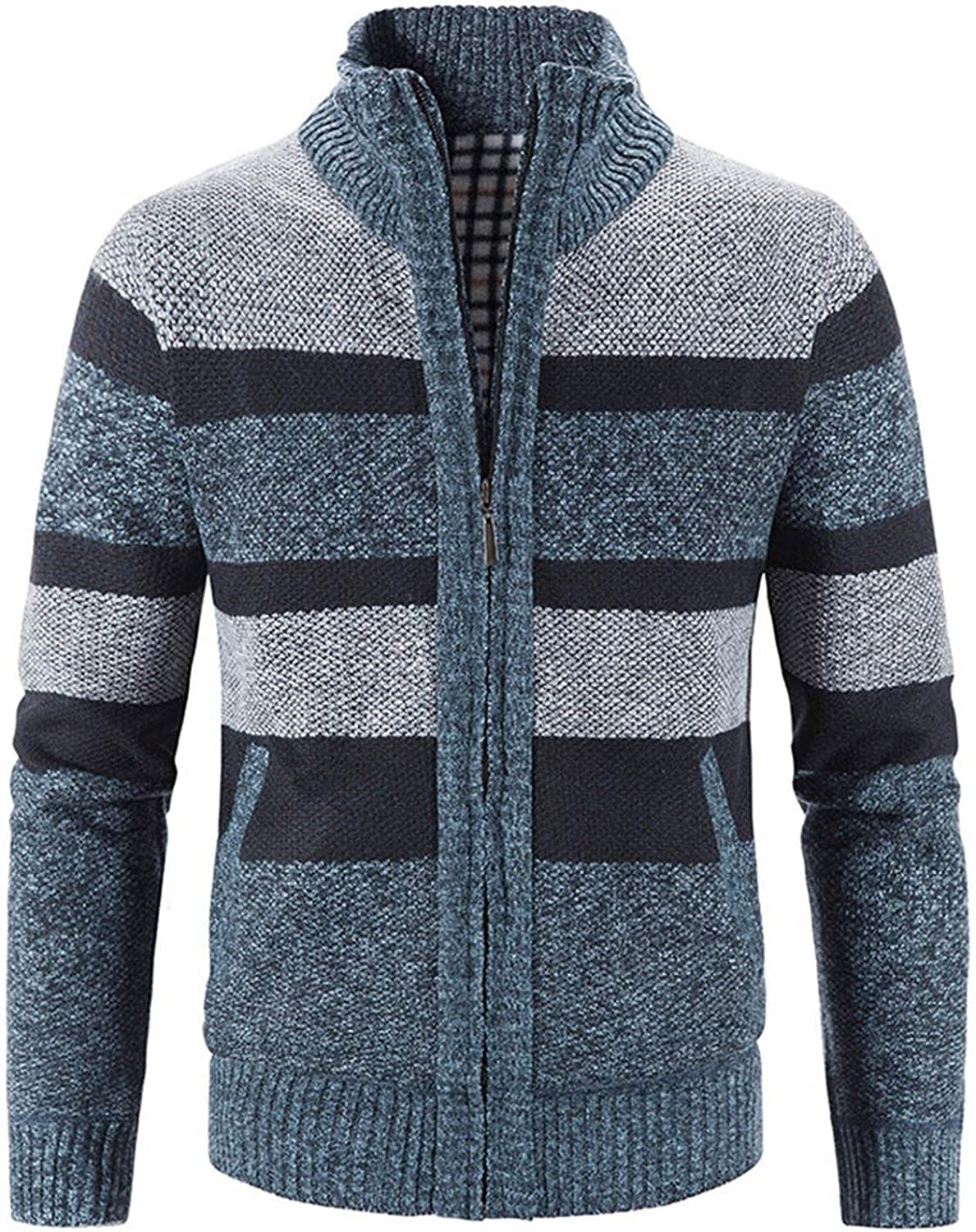 Burband Mens Casual Stand Collar Stripes Zipper Knitted Cardigan Sweaters Christmas Reindeer Snowflake Pullover Sweaters