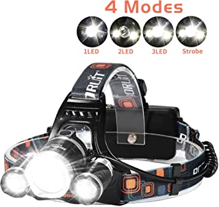 LED Headlamp, 6000 Lumens Max 4 Modes Waterproof Head Flashlight Light Waterproof Flashlight Head Lights for Camping, Hiki...