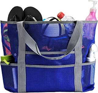 Ayliss Mesh Beach Bag,Toy Tote Bag, Large Lightweight Market, Grocery & Picnic Tote with Oversized Pockets (Blue)