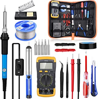 Soldering Iron Kit with ON/OFF Switch, Rarlight 60W 110V Adjustable Temperature Welding Tool with Digital Multimeter,Soldering Tips,Desoldering Pump,Solder Wire,Tweezers,Stand,Wire Stripper Cut(Blue)