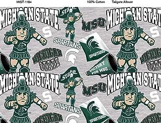 Michigan State University Cotton Fabric with Mascots-Newest Pattern-NCAA Cotton Fabric