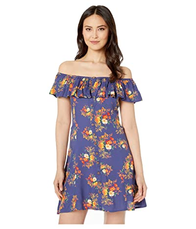 Rock and Roll Cowgirl Off Shoulder Dress D5-1442 (Navy) Women
