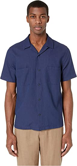 Textured Indigo Cabana Short Sleeve