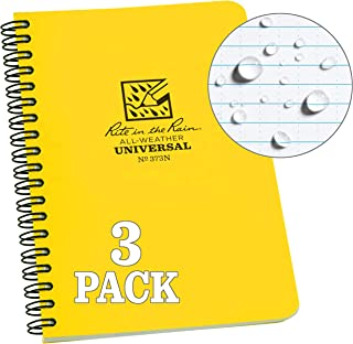 Rite in the Rain Weatherproof Side Spiral Notebook, Yellow Cover, Universal Pattern, Numbered Pages, 3 Pack (No. 373NL3)
