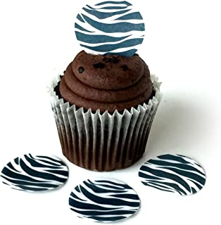 Zebra Animal Print Black White Wafer Paper Toppers 1.5 Inch for Decorating Desserts Cupcakes Birthday Cakes Cookies Pack of 12