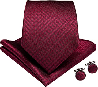 DiBanGu Men's Solid Ties Silk Formal Suit Necktie Pocket Square Cufflinks Tie Clip Set For Wedding Party Business