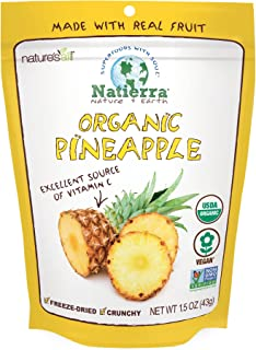 NATIERRA Nature's All Foods Organic Freeze-Dried Pineapples | Non-GMO & Vegan | 1.5 Ounce