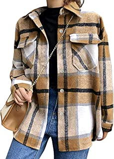 Womens Brushed Flannel Plaid Lapel Button Short Pocketed...