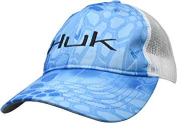 HUK PERFORMANCE FISHING TRUCKER BILLFISH PREP CAROLINA BLUE CAP HAT ADJUSTABLE